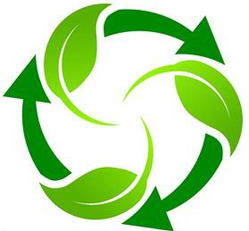 Leaves and recycling symbol