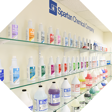 Spartan cleaning supplies in the showroom
