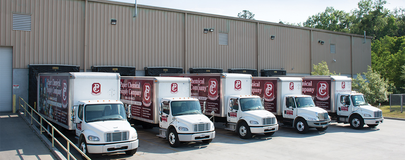 Paper Chemical Supply delivery trucks